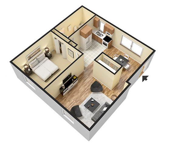 1 Bedroom 1 Bathroom. 685 sq. ft. 3D Furnished