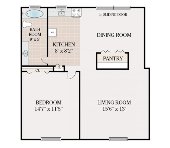1 Bedroom 1 Bathroom. 685 sq. ft.