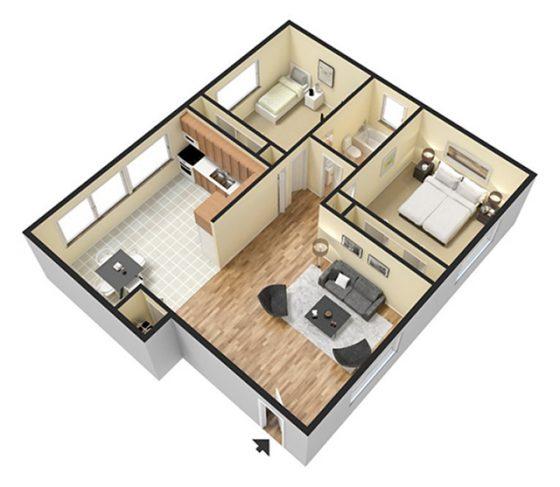 2 Bedroom 1 Bathroom. 785 sq. ft. 3D Furnished