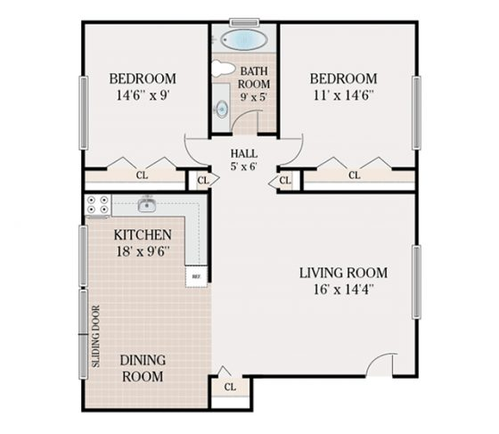 2 Bedroom 1 Bathroom. 785 sq. ft.